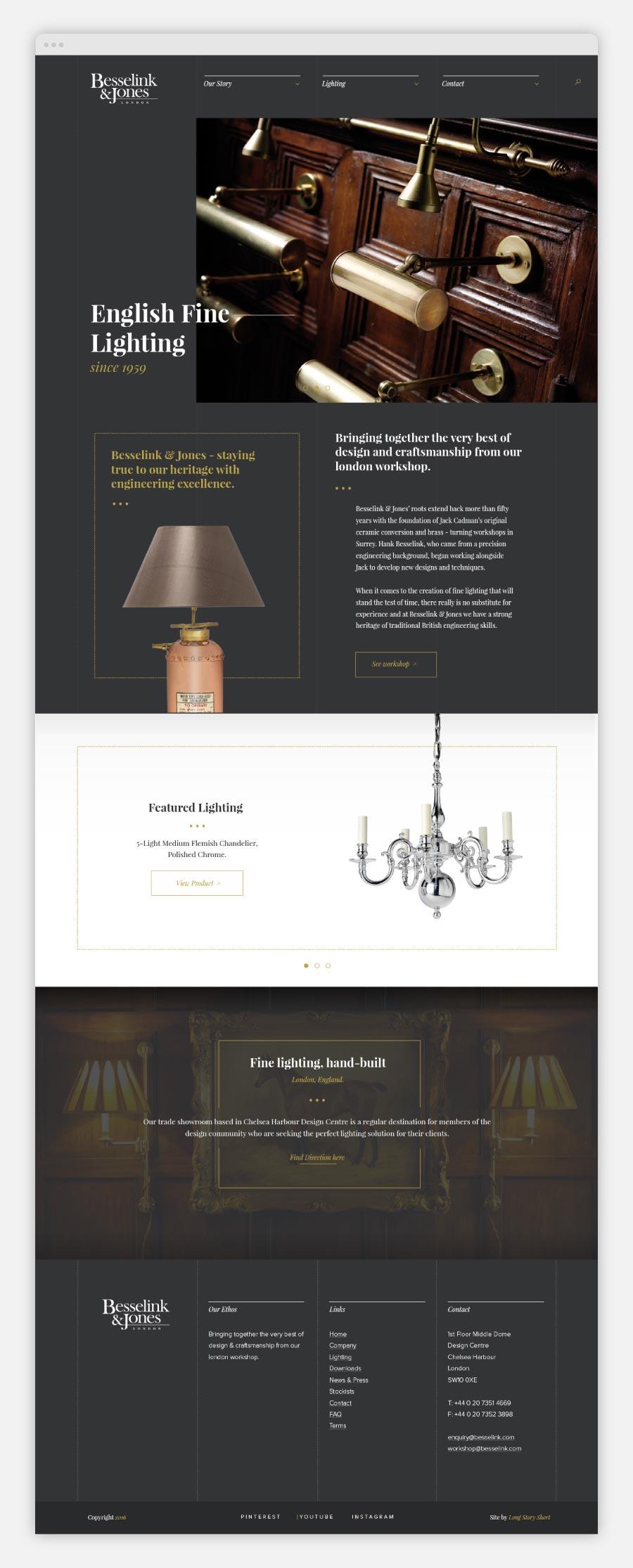 Besselink and Jones website design homepage