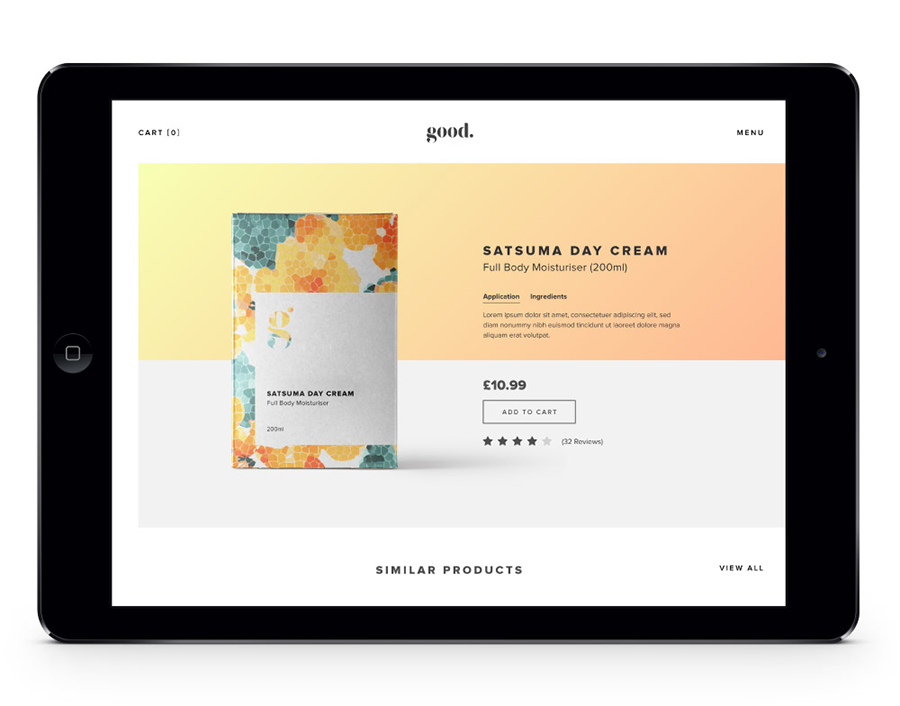 Good Cosmetics Website Design iPad