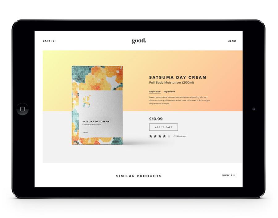 Good Cosmetics Website Design iPad