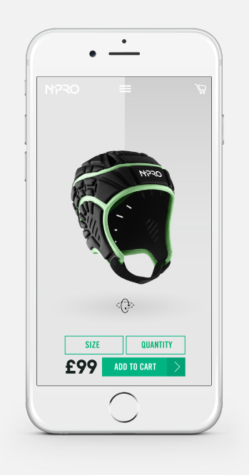NPro Headgear Mobile Website Design Product Page