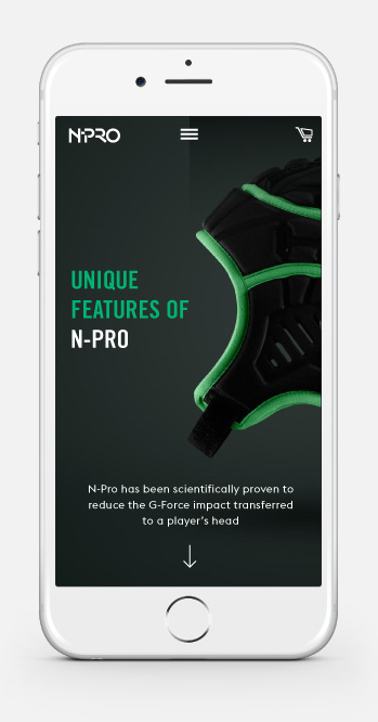 NPro Headgear Mobile Website Design Homepage