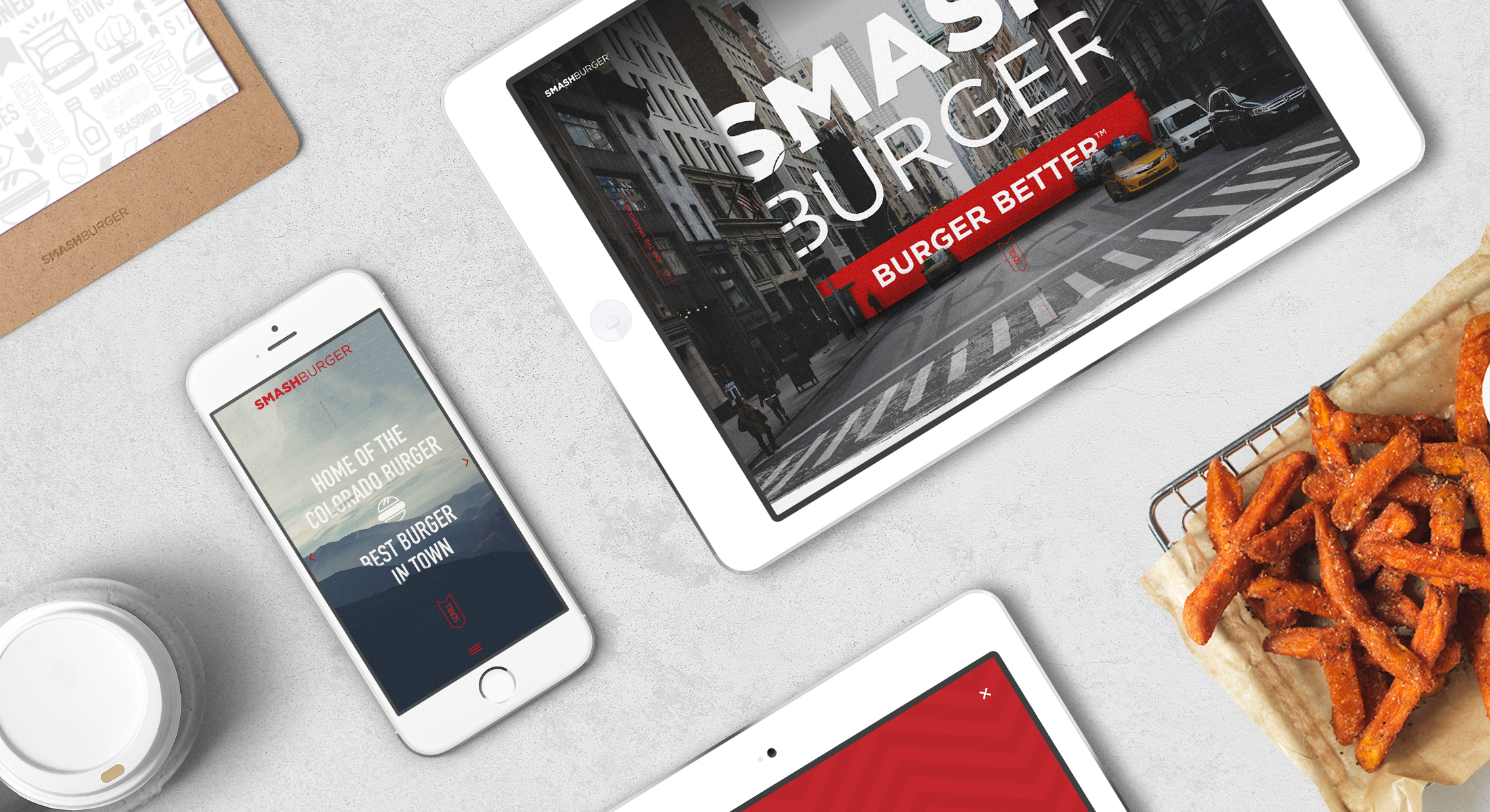Smash Burger website design iPad iPhone