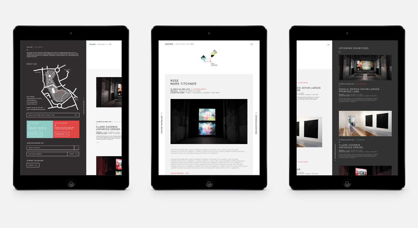 CGP London Gallery Responsive Website featured on a tablet screen