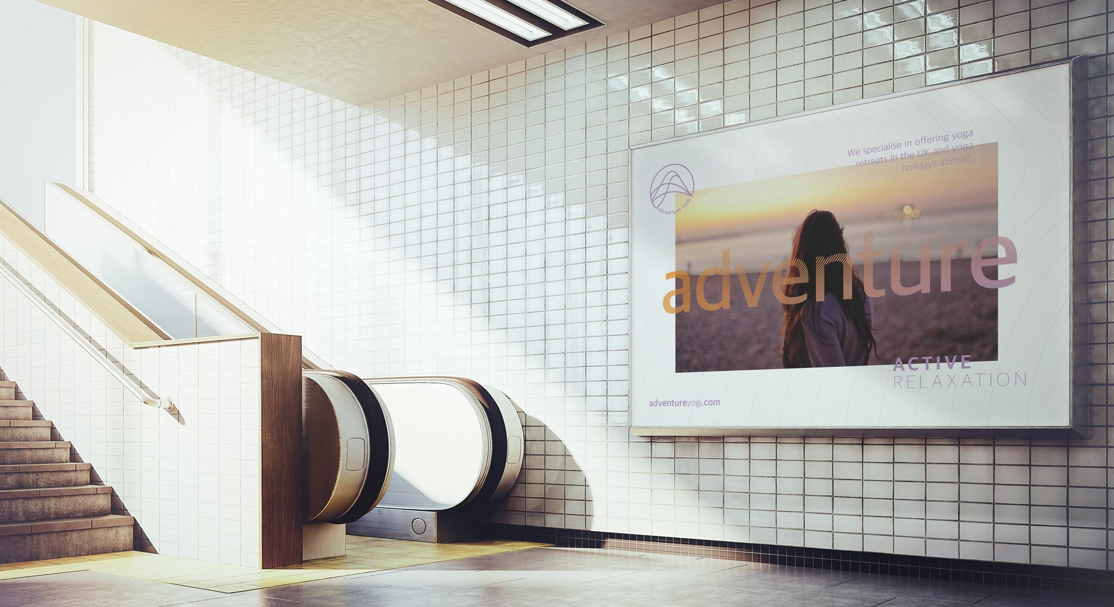 Adventure Yogi Billboard in a tube station with white tiles, stairs and an escalator