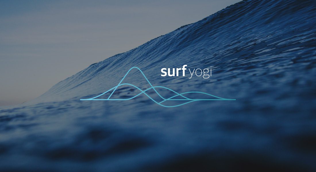 Adventure Yogi Surf Logo with a big ocean wave in the background