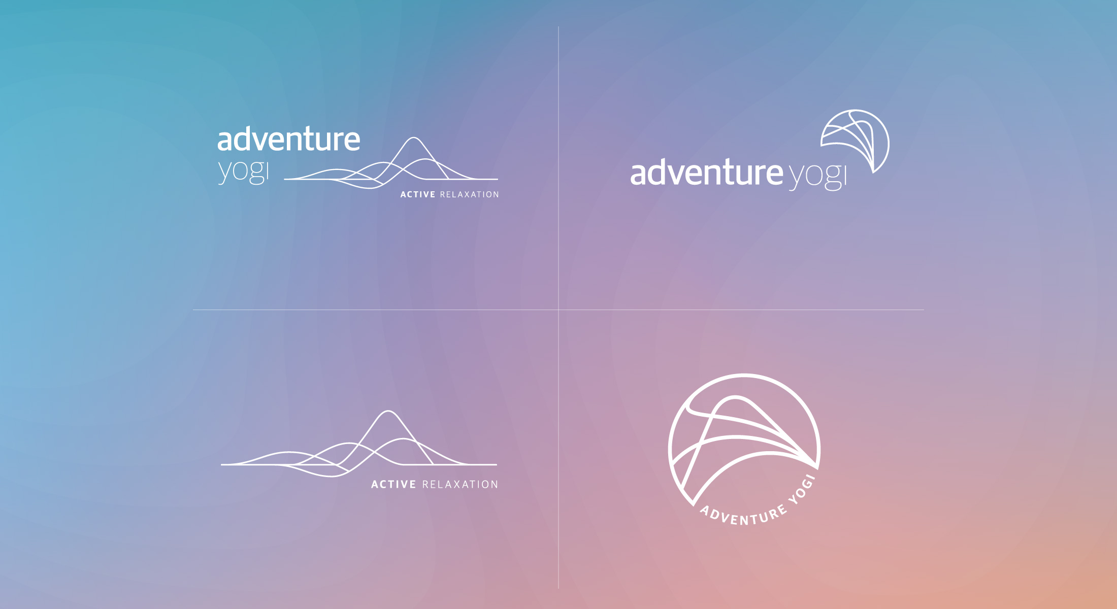 Four Adventure Yogi Logos on a pink, blue and orange background to resemble a sunset