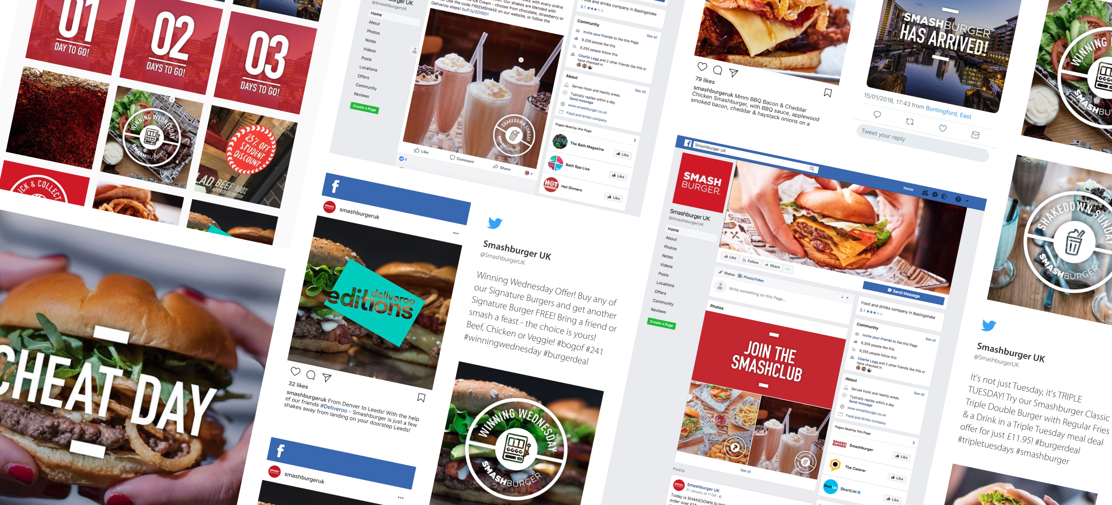 Smashbox social media pages with images of burgers, milkshakes combined with graphics