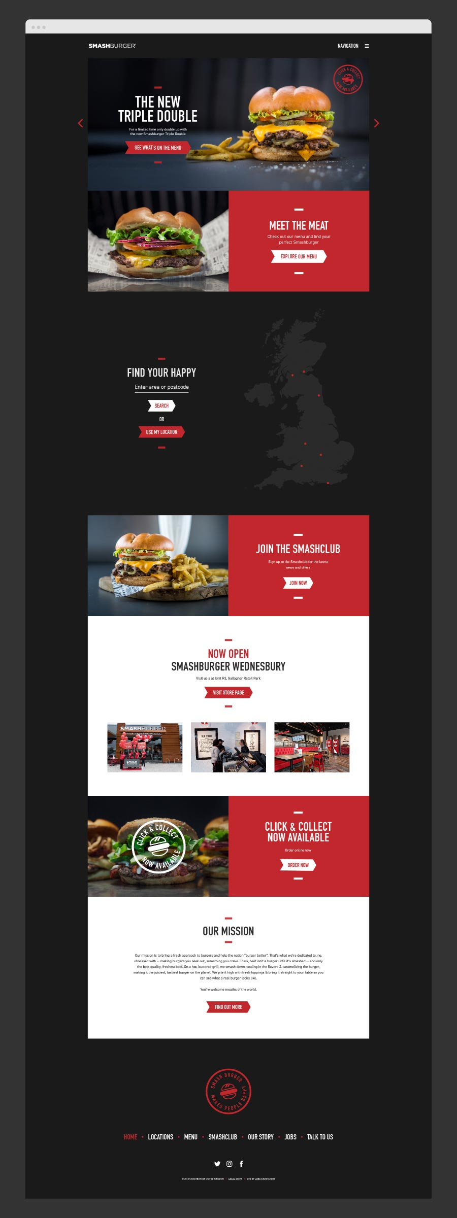 smashbox burger website with a red and black colour theme throughout