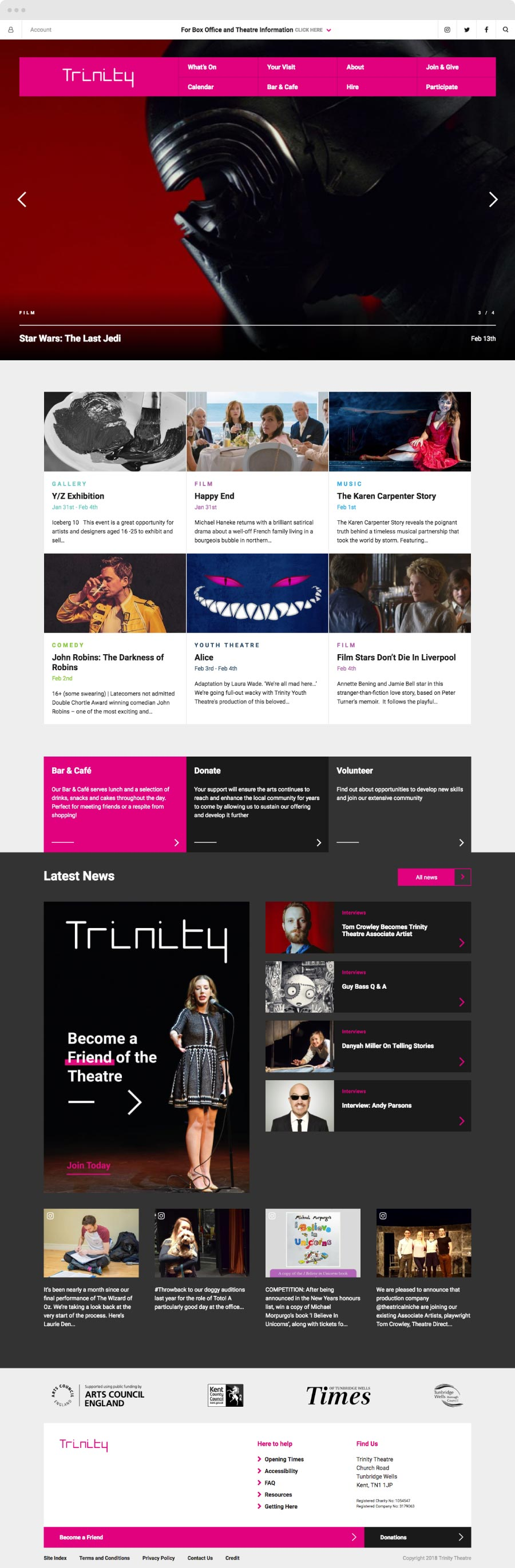 Trinity Theatre Website pages shots