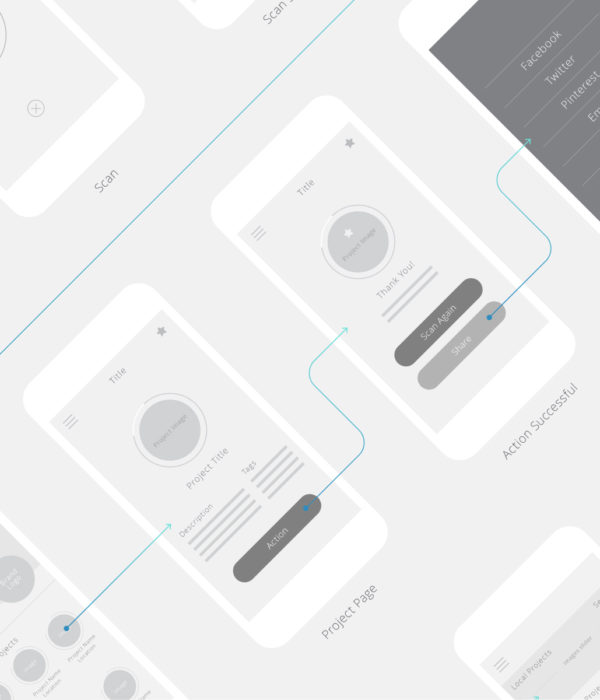 One Step Closer App Design Wireframes